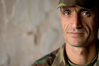 Iraqi Minister of Interior Special Police Commando Sergeant Major Salam M. Katami, 37 years old from Sadr City,    from  2nd Company, 2nd Battalion, 2nd Brigade  at camp Tiger,  Eastern Ramadi, Al Anbar Province, Iraq on Wednesday Feb 08 2006. He joined the Commandos in late 2004 when the unit was getting formed. he earns 500 USD a month, the standard pay for a commando with previous NCO experience. he spent more than 18 years in the former iraqi Army fighting in the Iran War and against the Americans in Kuwait in 1991. he complains that the americans should invest more resources in training the commandos.