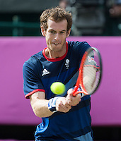 ..Tennis - OLympic Games -Olympic Tennis -  London 2012 -  Wimbledon - AELTC - The All England Club - London - Sunday 5th August  2012. .© AMN Images, 30, Cleveland Street, London, W1T 4JD.Tel - +44 20 7907 6387.mfrey@advantagemedianet.com.www.amnimages.photoshelter.com.www.advantagemedianet.com.www.tennishead.netAndy Murray..Tennis - OLympic Games -Olympic Tennis -  London 2012 -  Wimbledon - AELTC - The All England Club - London - Sunday 5th August  2012. .© AMN Images, 30, Cleveland Street, London, W1T 4JD.Tel - +44 20 7907 6387.mfrey@advantagemedianet.com.www.amnimages.photoshelter.com.www.advantagemedianet.com.www.tennishead.net