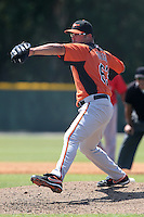 Baltimore Orioles minor league player Kevin Gregg #63 during a spring training game vs the Boston Red Sox at the Buck O'Neil Complex in Sarasota, Florida;  March 22, 2011.  Photo By Mike Janes/Four Seam Images