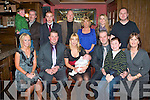BABY JOY: Proud parents Kevin Sheehan and Emma Robbins, Ballyduff of little Scott Sheehan who was Christened in St John Church, Tralee enjoying a great time with family and friends in the Blasket bar on Saturday seated l-r: Kelly Sheehan, Kevin Sheehan, Emma Robbins, Scott Sheehan and Brendan (Jnr), Jack and Helen Sheehan. Back l-r: Shane and Keith Sheehan, Liam Robbins, Brendan Sheehan (Snr), Marion Robbins, Mairead and Aaron Sheehan..