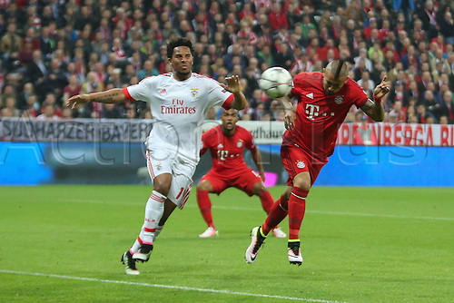 05.04.2016. Munich, Germany.  Arturo Vidal (FC Bayern Muenchen) with the header to score for bayern for 1:0 Champions League FC Bavaria Munich versus Benfica Lisbon