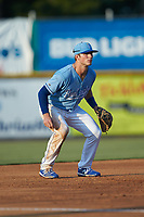 Burlington Royals third baseman Jake Means (9) on defense against the Danville Braves at Burlington Athletic Stadium on August 9, 2019 in Burlington, North Carolina. The Royals defeated the Braves 6-0. (Brian Westerholt/Four Seam Images)