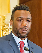 American professional boxer and former WBA super welterweight champion Austin Trout makes remarks at a press conference to discuss the observational study on the brain health of active and retired professional fighters on Capitol Hill in Washington, DC on Tuesday, April 26, 2016.  The study, led by researchers from the Cleveland Clinic, is  designed to better identify, prevent and treat Chronic Traumatic Encephalopathy (CTE.)<br /> Credit: Ron Sachs / CNP