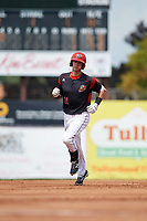 Batavia Muckdogs third baseman Tyler Curtis (11) runs the bases after hitting his first professional home run during the first game of a doubleheader against the Williamsport Crosscutters on August 20, 2017 at Dwyer Stadium in Batavia, New York.  Batavia defeated Williamsport 6-5.  (Mike Janes/Four Seam Images)
