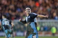 Luke O'Nien of Wycombe Wanderers celebrates at full time during the Sky Bet League 2 match between Plymouth Argyle and Wycombe Wanderers at Home Park, Plymouth, England on 30 January 2016. Photo by Mark  Hawkins / PRiME Media Images.