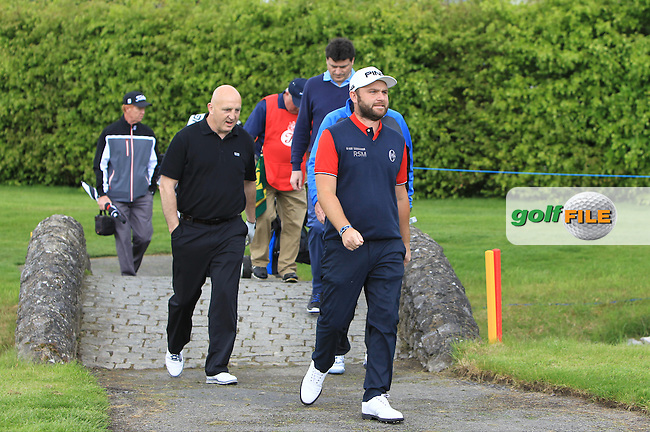 Andy Sullivan (IRL) with Keith Wood (AM), Aidan Brown (AM) and Michael Smurfitt Jnr. (AM) on the 14th during Wednesday's Pro-Am round of the Dubai Duty Free Irish Open presented  by the Rory Foundation at The K Club, Straffan, Co. Kildare<br /> Picture: Golffile | Thos Caffrey<br /> <br /> All photo usage must carry mandatory copyright credit <br /> (&copy; Golffile | Thos Caffrey)