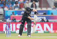 Martin Guptill (New Zealand) hit in front first ball and India review during India vs New Zealand, ICC World Cup Semi-Final Cricket at Old Trafford on 9th July 2019