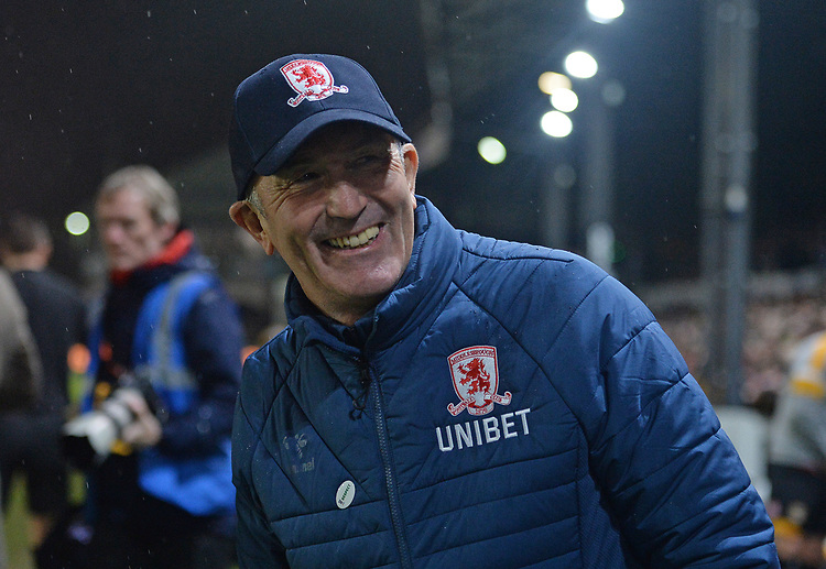 Middlesbrough manager and Newport's own Tony Pulis gets a warm reception from the Newport County fans <br /> <br /> Photographer Ian Cook/CameraSport<br /> <br /> Emirates FA Cup Fourth Round Replay - Newport County v Middlesbrough - Tuesday 5th February 2019 - Rodney Parade - Newport<br />  <br /> World Copyright &copy; 2019 CameraSport. All rights reserved. 43 Linden Ave. Countesthorpe. Leicester. England. LE8 5PG - Tel: +44 (0) 116 277 4147 - admin@camerasport.com - www.camerasport.com