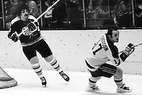 Boston Bruin Carol Vadnais and Seals Norm Ferguson.<br />