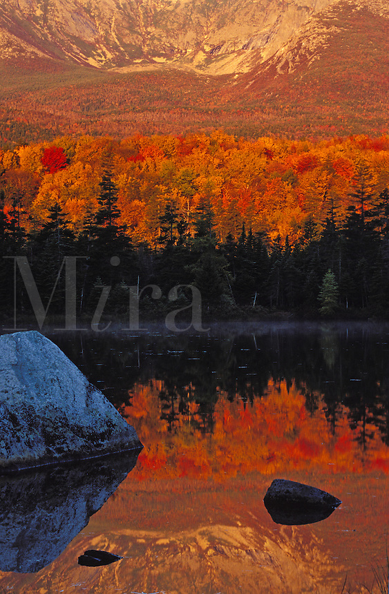 The North Basin and Fall Foliage reflecting in Sandy Stream Pond, Baxter State Park, Maine