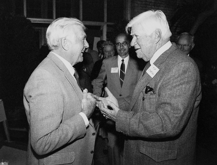 """Rep. Silvio Ottavio Conte, R- Mass., House of Representatives Member talking with Speaker of the House, Rep. Thomas Phillip """"Tip"""" O'Neill, House Majority Leader. (Photo by CQ Roll Call)"""