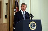 United States President George W. Bush makes an opening statement during a formal press conference from the East Room of the White House in Washington, DC on April 13, 2004.<br /> Credit: Ron Sachs / CNP