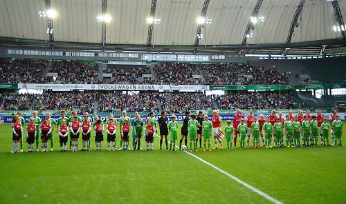 21.04.2013. Wolfsburg, Germany. Womens Champions League, Wolfsburg versus Arsenal, second leg.  The team line-ups pre-match