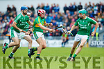 Ally O'Connor Ballyduff in action against Jeremy McKenna Lixnaw in the Senior County Hurling Final in Austin Stack Park on Sunday