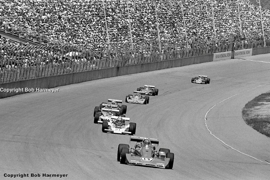AJ Foyt leads the 1976 USAC Champ Car race at Michigan International Speedway near Brooklyn, Michigan, USA.