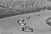 AJ Foyt leads the 1976 USAC Champ Car race at Michigan International Speedway near Brooklyn, Michigan, USA.