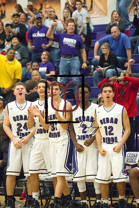 The bench and the fans celebrate the Raiders lead against San Marcos Friday at Cedar Ridge.  The Raiders beat the Rattlers 88-87 in overtime.  (LOURDES M SHOAF for Round Rock Leader.)