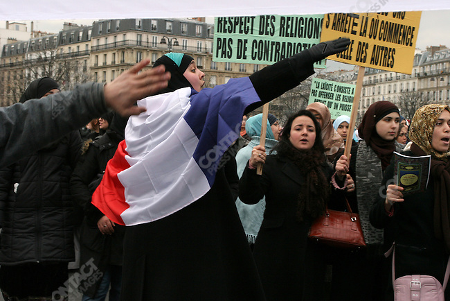 Over 7000 persons demonstrated against the publication of drawings representing Muhammad, Paris, France, February 11, 2006