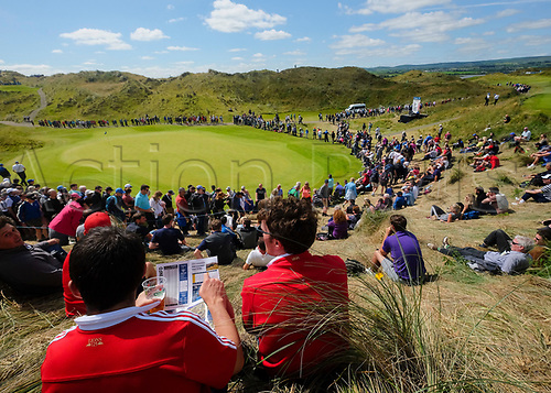 July 8th 2017, Portstewart Golf Club, Portstewart, Northern Ireland; Dubai Duty Free Irish Open Golf Championship, Day 3; Fans take in the sights over the 3rd green during the third round of the Dubai Duty Free Irish Open