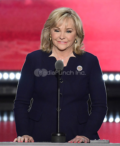 Governor Mary Fallin (Republican of Oklahoma) makes remarks at the 2016 Republican National Convention held at the Quicken Loans Arena in Cleveland, Ohio on Thursday, July 21, 2016.<br /> Credit: Ron Sachs / CNP/MediaPunch<br /> (RESTRICTION: NO New York or New Jersey Newspapers or newspapers within a 75 mile radius of New York City)