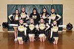 November 17, 2014- Tuscola, IL- The 2014-2015 Hornet Cheerleaders. Standing from left are Hannah Lemay, Sabrina Alcorn, sponsor Cassie Hardwick, Faith Hardwick, and Byona Lee. Kneeling from left are Emma Zimmer, Julia Kerkhoff, Abbie Heath, and Savannah Barnes. [Photo: Douglas Cottle]