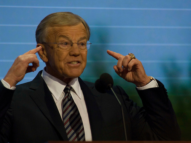 MINNEAPOLIS/ST. PAUL, MN: Sept. 04 --  Joe Gibbs, Hall of Fame former head coach of the Washington Redskins, addresses the crowd during the Republican National Convention on Sept. 4, 2008 at the Xcel Energy Center in St. Paul, Minn. (Scott J. Ferrell / Congressional Quarterly)