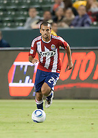 Chivas midfielder Rodolfo Espinoza (24) move the ball up the field during the second half of the game between Chivas USA and the New England Revolution at the Home Depot Center in Carson, CA, on September 10, 2010. Chivas USA 2, New England Revolution 0.