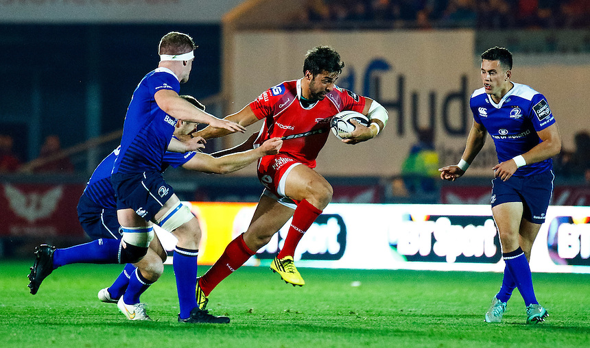Scarlets' Gareth Owen in action during todays match<br /> <br /> Photographer Simon King/CameraSport<br /> <br /> Rugby Union - Guinness PRO12 - Scarlets v Leinster - Friday 16th October 2015 - The Liberty Stadium - Swansea<br /> <br /> &copy; CameraSport - 43 Linden Ave. Countesthorpe. Leicester. England. LE8 5PG - Tel: +44 (0) 116 277 4147 - admin@camerasport.com - www.camerasport.com