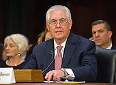 Rex Wayne Tillerson, former chairman and chief executive officer of ExxonMobil testifies before the United States Senate Committee on Foreign Relations considering his nomination of to be Secretary of State of the US on Capitol Hill in Washington, DC on Wednesday, January 11, 2017.<br /> Credit: Ron Sachs / CNP