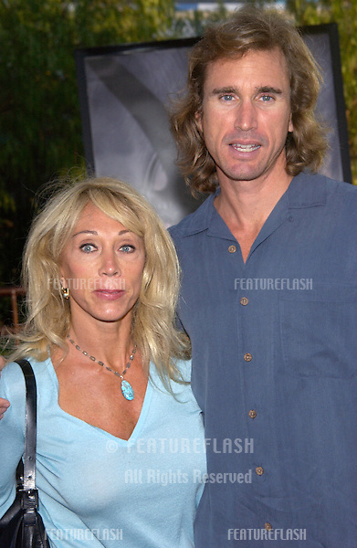 CINDY LANDON, widow of actor Michael Landon, & her boyfriend LARRY at the world premiere, in Los Angeles, of Jurassic Park III..16JUL2001.  © Paul Smith/Featureflash
