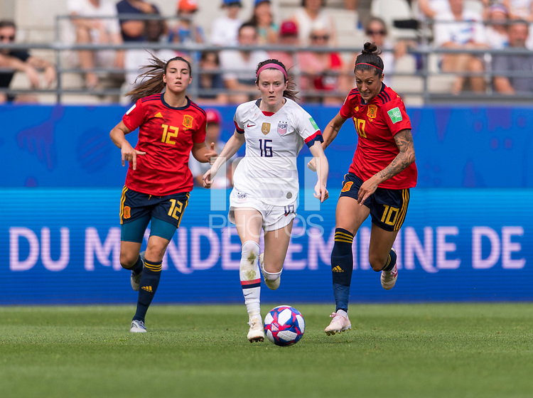 REIMS,  - JUNE 24: Rose Lavelle #16 dribbles forward during a game between NT v Spain and  at Stade Auguste Delaune on June 24, 2019 in Reims, France.