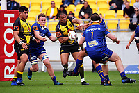Julian Savea is stripped of the ball during the Mitre 10 Cup rugby match between Wellington Lions and Otago at Westpac Stadium in Wellington, New Zealand on Sunday, 1 October 2017. Photo: Dave Lintott / lintottphoto.co.nz