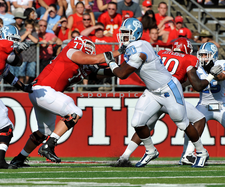 Sept 25, 2010; North Carolina DL Quinton Coples (90) during  game against Rutgers University.North Carolina won 17-13 at  Rutgers Stadium Piscataway, NJ. Mandatory Credit: Tomasso DeRosa