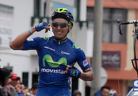BOYACA - COLOMBIA: 08-09-2016. Brayan Steve Ramirez ganador de la segunda etapa de la 38 versión de la vuelta Ciclista a Boyaca 2016 que se corre entre  Pesca y Aquitania y Sogamoso. La prueba se corre entre el  7 y el 11 septiembre de 2016./ Brayan Steve Ramirez winner of the second stage of the Vuelta a Boyaca 2016 that took place between villages of Pesca and Aquitania. The race is held between 7 and 11 of September of 2016 . Photo:  VizzorImage/ José Miguel Palencia / Liga Ciclismo de Boyaca