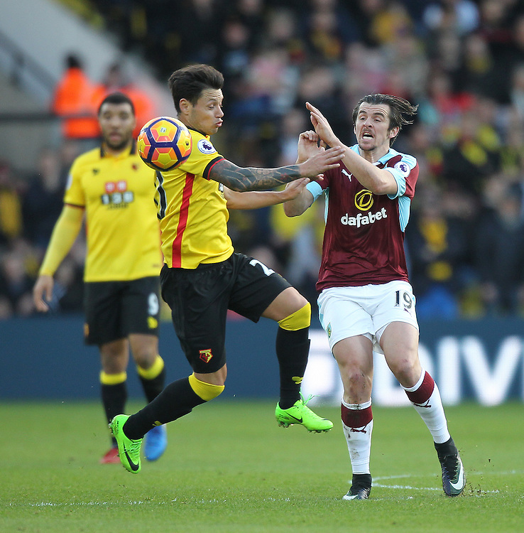 Burnley's Joey Barton battles with Watford's Mauro Zarate<br /> <br /> Photographer Mick Walker/CameraSport<br /> <br /> The Premier League - Watford v Burnley - Saturday 4th February 2017 - Vicarage Road - Watford<br /> <br /> World Copyright &copy; 2017 CameraSport. All rights reserved. 43 Linden Ave. Countesthorpe. Leicester. England. LE8 5PG - Tel: +44 (0) 116 277 4147 - admin@camerasport.com - www.camerasport.com