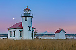 Vashon-Maury Island, WA: Point Robinson Lighthouse at dusk with moonrise and Mount Rainier in the distance