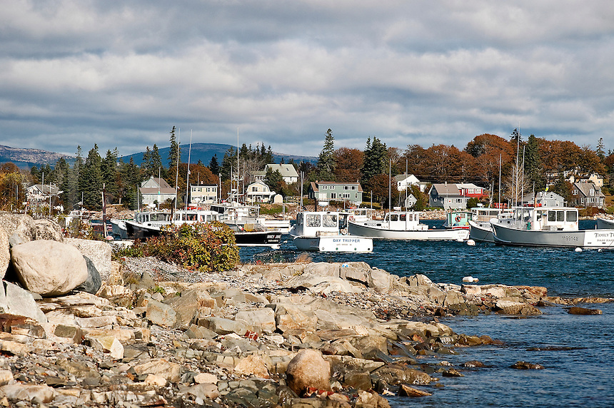 Bass Harbor fishing village, Mount Desert Island, Maine, ME, USA