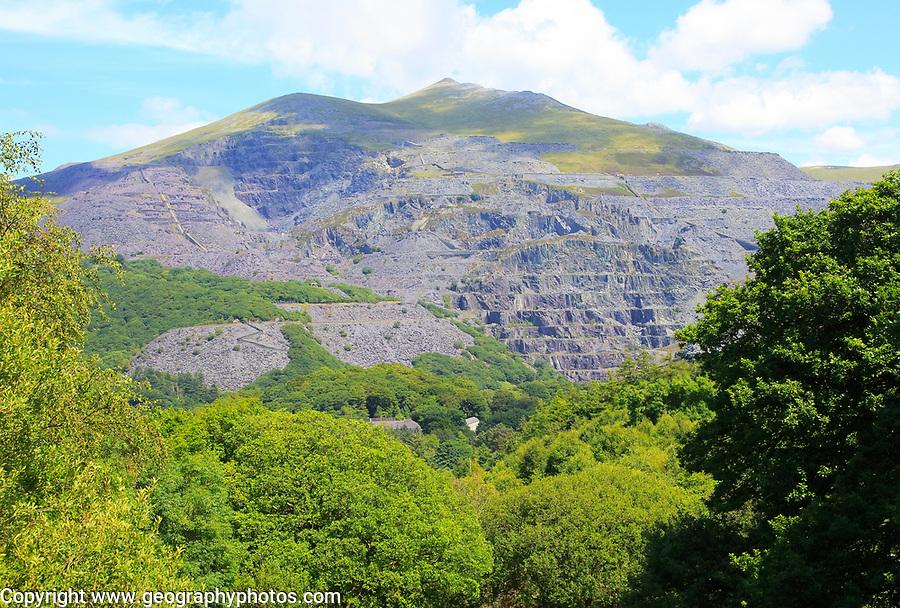 Slate quarries at Llanberis, Snowdonia, north Wales, UK view down to Llanberis
