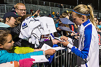 Allston, MA - Saturday, May 07, 2016: Boston Breakers defender Whitney Engen (4) signs autographs after a regular season National Women's Soccer League (NWSL) match at Jordan Field.