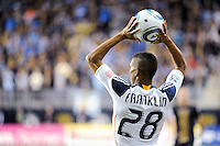 Sean Franklin (28) of the Los Angeles Galaxy on a throw in. The Los Angeles Galaxy defeated the Philadelphia Union  1-0 during a Major League Soccer (MLS) match at PPL Park in Chester, PA, on October 07, 2010.