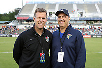 Cary, NC - Saturday April 22, 2017: Curt Johnson, Steve Malik prior to a regular season National Women's Soccer League (NWSL) match between the North Carolina Courage and the Portland Thorns FC at Sahlen's Stadium at WakeMed Soccer Park.