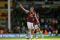 Bjorn Engels of Aston Villa applauds the traveling Aston Villa fans at the end of the game.   Norwich City vs Aston Villa, Premier League Football at Carrow Road on 5th October 2019