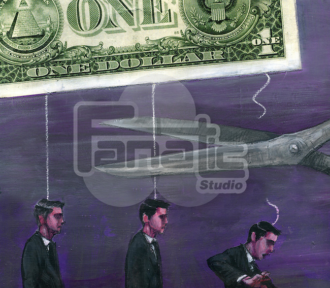 Illustration of businessmen being fired