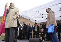 Roma 25 Aprile 2011.Porta San Paolo.Celebrazione per l'anniversario della  liberazione dal nazifascismo..Nella foto: Massimo Rendina comandante Partigiano con altri Partigiani