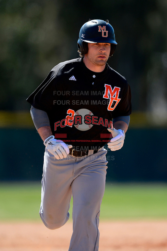 Mercer Bears outfielder Nate Moorhouse #2 runs the bases after hitting a home run during a game against the Notre Dame Fighting Irish at the Buck O'Neil Complex on February 17, 2013 in Sarasota, Florida.  Mercer defeated Notre Dame 5-4.  (Mike Janes/Four Seam Images)