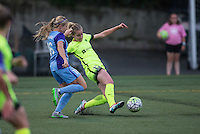 Seattle, WA - Saturday July 23, 2016: Leah Fortune, Beverly Yanez during a regular season National Women's Soccer League (NWSL) match between the Seattle Reign FC and the Orlando Pride at Memorial Stadium.