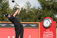 Thomas Pieters (BEL) watches his tee shot on the 14th hole during second round at the Omega European Masters, Golf Club Crans-sur-Sierre, Crans-Montana, Valais, Switzerland. 30/08/19.<br /> Picture Stefano DiMaria / Golffile.ie<br /> <br /> All photo usage must carry mandatory copyright credit (© Golffile | Stefano DiMaria)