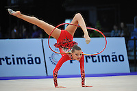 Melitina Staniouta of Belarus performs with hoop during Event Finals at 2010 World Cup at Portimao, Portugal on March 14, 2010.  (Photo by Tom Theobald).