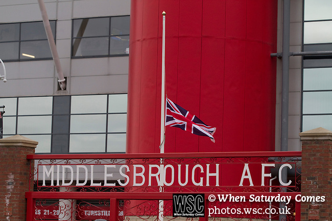 Middlesbrough 1 Preston North End 1, 22/01/2011. Riverside Stadium, Championship. A Union Jack flag at half mast outside Middlesbrough FC's Riverside Stadium on the day the club played host to Preston North End in an Npower Championship fixture. The match ended in a one-all draw watched by a crowd of 16,157. Middlesbrough relocated from their former home at Ayresome Park in 1995. Photo by Colin McPherson.