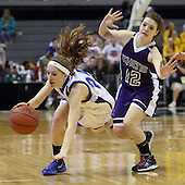 Lexie Robak, Waterford Our Lady of the Lakes, gets tripped up by Valerie Rubleyk, Athens, during Class D state championship action at the Breslin Center in Lansing Saturday, March 17, 2012.
